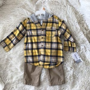 Hooded Flannel with Khaki Pants